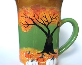 Fall Pumpkin Patch Coffee Mug - Hand painted - Fall Decor - Fall Leaves - Pumpkins - Pumpkin Mug - Pumpkin Spice - Pumpkin Decor - Coffee