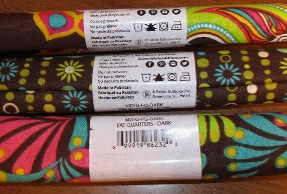 "Three Rolls Fabric Palette 100% Cotton 18"" X 21"" Fat ..."
