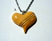 Valentine necklace with stainless steel rope chain and wooden heart pendant