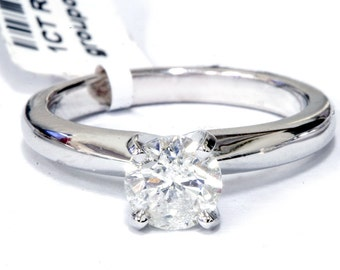 Solitaire Diamond Engagement Ring G/I1 1 ct Diamond Solitaire Round Brilliant Cut Natural Real 14k White Gold sz7