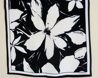 Designer Vintage Silk Crepe Scarf Ellen Tracy Bold Black White Floral 21 by 21 Inches 252b