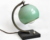 Vintage Art Deco / Bauhaus Style Lamp. Mint Green. Marble