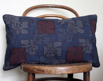 Blue Indigo, Red ikat Decorative Pillow. Contemporary Cushion Cover. Vintage Kimono silk and linen
