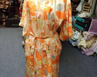 Vintage Orange Flowered Kimono