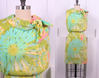 Vintage 1960's Pastel Day Dress • 60's Bright Pastel Sleeveless Dress • Size S