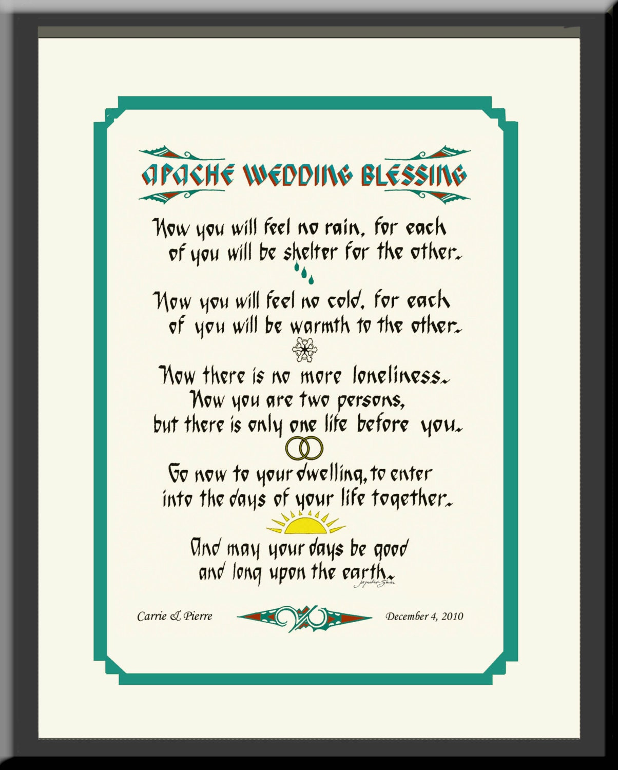 Apache Wedding Unique Gift Personalized For Newlyweds Framed