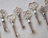 30 Pcs - The Madeline Collection - LARGE Size - Vintage Wedding Favors - Skeleton Key Assortment in Silver - Set of 30 Keys - 3 STYLES