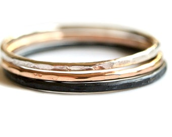 Ombre stacking ring set sterling silver and gold filled