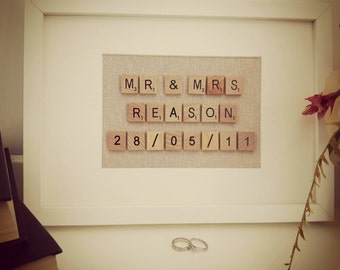 Name and wedding date scrabble frames wedding or anniversary gift