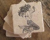 Natural stone coaster. Mermaid Coasters.  Set of Four Coasters. Gift.