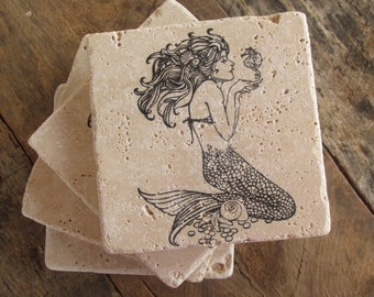 Natural stone coaster. Mermaid Coasters.  Set of Four Coasters. Gift.