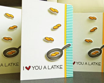 Happy Hanukkah Card, I Love You A Latke Card, Jewish Anniversary Card
