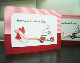 Westie Valentine Card, Dog Card, Vespa Card, Happy Valentine's Day Card
