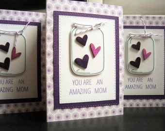 Handmade Birthday Card for Mom, Mason Jar Birthday Card for Mother