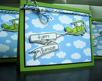 Airplane Birthday Card for Boy, Handmade Birthday Card for Man, Card for Pilot