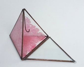 Pink Crystallized /  Ring Bearer Box / Wedding Ring Display / Glass Display Box / Jewelry Box