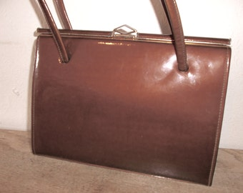 Vintage Caramel Patent Leather DebRoyal Handbag Mid Century 1950s 1960s Purse Mid Century Mad Men Style