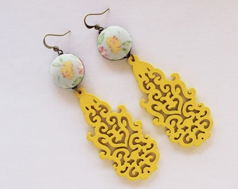 Filigree earrings, boho chic earrings, bohemian earrings, blue and yellow, filigree wood, fabric earrings, textile jewelry, long earrings