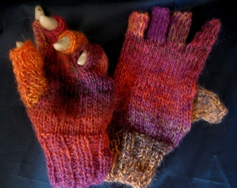 Fingerless, Half Finger Gloves - Baby Alpaca and Merino yarn