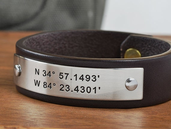 Personalized Mens Leather Bracelet | Custom Coordinates bracelet can be personalized with your coordinates or any text up to 40 characters!