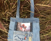 Spiderman Tote - Upcycled Denim - Repurposed - One of a kind