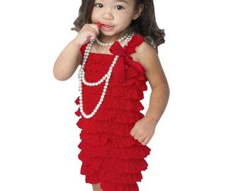 Vintage Childrens Lace Romper-Red