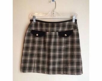 90s Plaid High Waisted Mini Skirt