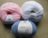 Rico Baby Classic 4ply knitting wool pink blue and white