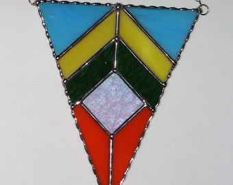 Stained Glass Suncatcher - Inverted Triangle Geometric Design