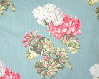 Antique Geranium Floral Pattern Vintage 1930s Robin's Egg Blue Fabric Custom Decorative Throw Pillow