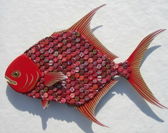 Metal Bottle Cap Pompano Fish Wall Art - Bottlecap Permit Fish