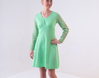 Mint Green 1960s Mod Dress/ 70's Cut Out Polyester Dress