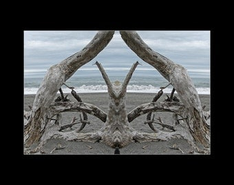 Mirror 201 16x12_signed abstract photography matted print_ocean driftwood seascape_Humboldt Bay_Loree Harrell The Mirror Project_meditative