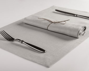 Linen placemat set or Linen table napkin Set of Six, Dove grey napkins and placemats by Lovely Home Idea