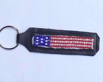 Hand crafted leather beaded key chain- US Flag