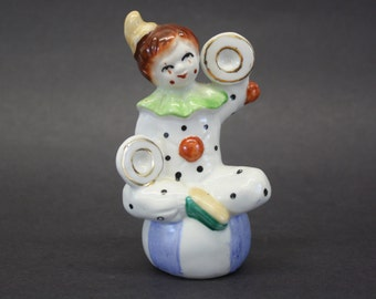 Vintage Clown with Green Collar w/Cymbals on Blue & White Ball (E333)