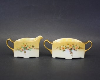 Vintage RR Yellow Floral Art Deco Cream & Sugar Set (E7315)