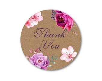 Thank You Sticker, Watercolor Flowers Custom Stickers - Made to Order