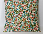 Green, Turquoise, Pink, Blue  Pillow Cover, Squiggles Pattern Robert Allen Home Dec Fabrics 18 x 18 inch with zipper closure