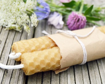 Natural Beeswax Candles - Set of 2 - Altar Candles, Candle Magick, Witchy Candles, Spell Candles
