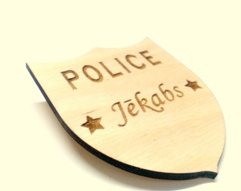 POLICE, Personalized brooch, For children, POLICE BROOCH, Wooden Pin, Wood brooch, Wooden brooch, Kid brooch, Children brooch, woodworks