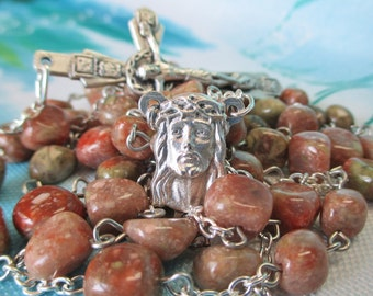 Handmade Catholic Rosary, Autumn Jasper Nugget Gemstone Beads, Holy Face of Jesus Center, Crown of Thorns Crucifix