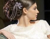 Bridal drape headpiece, Double hair comb, silver chain headpiece, crystal headpiece, wedding headpiece, long bridal drapes, grecian comb
