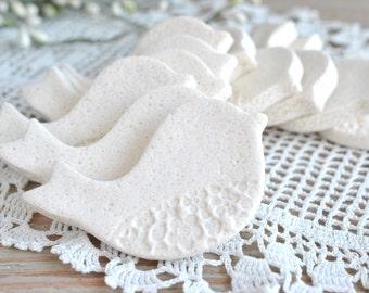 DIY Wholesale Mini Doves Salt Dough Imprinted Ornaments Set of 10