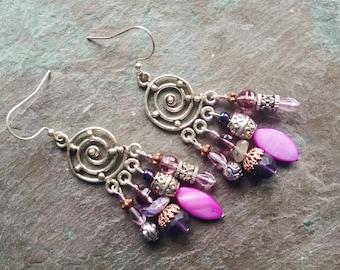 Purple statement earrings, Bohemian Long Gypsy Silver amethyst purple fluorite copper chandelier statement earrings