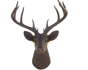 Large Deer Head - Dark Brown With Reflective Copper Flakes Deer Head Wall Mount - 14 Point Stag Head Antlers Faux Taxidermy ND2727