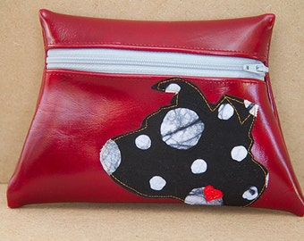 Flippy Eared Dog Red Vinyl Pouch