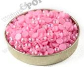 200 - Bubblegum Pink AB Pearl Flatback Resin Decoden Cabochons, Half Pearl Cabochons, Flat Pearls, 6mm FlatBack Pearls, 6MM (R4-150)