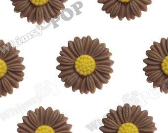 27mm - Large Matte Mocha Brown Daisy Sunflower Resin Cabochons, Daisy Cabochons, Flower Cabochons, Sunflower Cabochons (R6-038)
