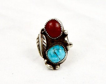 Vintage Sterling Turquoise & Red Coral Southwest Ring with Feather Size 6